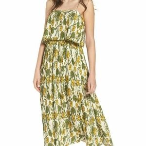 Leith Pleated Midi Dress Green Yellow Floral Ivory